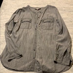 Grey denim collarless button down from Loft